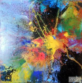 Emozioni 100X100 tecnica mista su tavola anno 2011